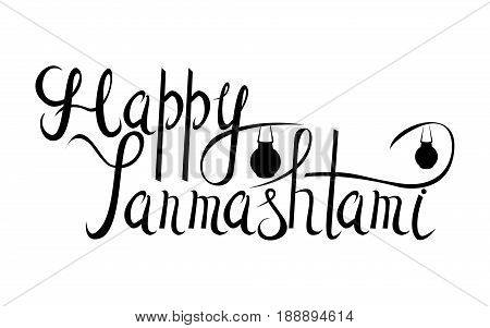 Happy Janmashtami Indian fest.Background, lettering. Dahi handi on Janmashtami, celebrating birth of Krishna. Design Template , flyer, banner, greeting cards.Hand drawn illustration