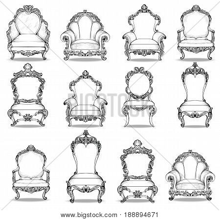 Vintage Baroque luxury style chairs urniture set collection. Upholstery with luxurious rich ornaments. French Luxury rich carved ornaments decoration. Vector Victorian exquisite Style furniture