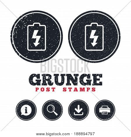 Grunge post stamps. Battery charging sign icon. Lightning symbol. Information, download and printer signs. Aged texture web buttons. Vector