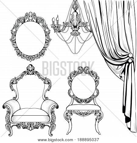 Imperial Baroque furniture and decoration set armchairs luxurious ornament. Vector French Luxury rich intricate structure. Victorian Royal Style decor