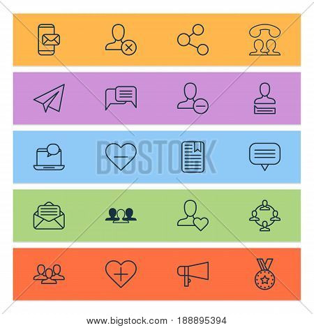 Social Icons Set. Collection Of Speaking People, Note Page, Publication And Other Elements. Also Includes Symbols Such As Delete, Open, Share.