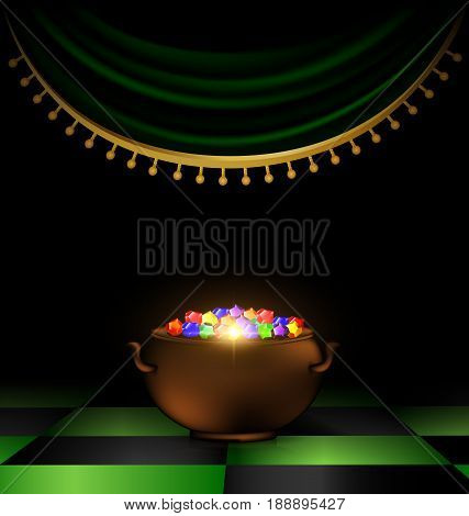 abstract dark room awith red drape nd the dark pot of many colored gems