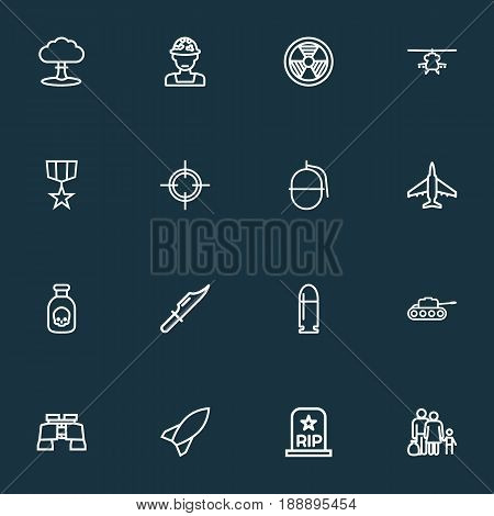 Army Outline Icons Set. Collection Of Target, Fugitive, Aircraft And Other Elements. Also Includes Symbols Such As Plane, Glass, Die.
