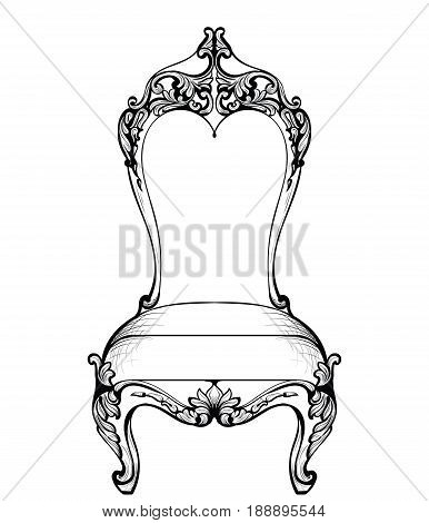Rich Imperial Baroque chair in luxurious ornaments. Vector French Luxury rich intricate structure. Victorian Royal Style decor