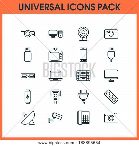 Icons Set. Collection Of Universal Serial Bus, Television, Charge And Other Elements. Also Includes Symbols Such As Glasses, Camera, Extension.