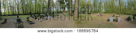Dambeck, Germany - May 07 2017 : Waldfriedhof (forest Cemetery) In Dambeck