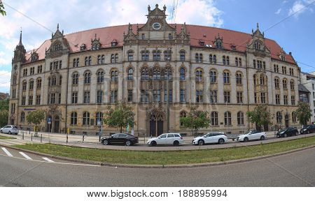 Magdeburg, Germany - May 21 2017 : Facade Of Former Main Post Office Building In Magdeburg