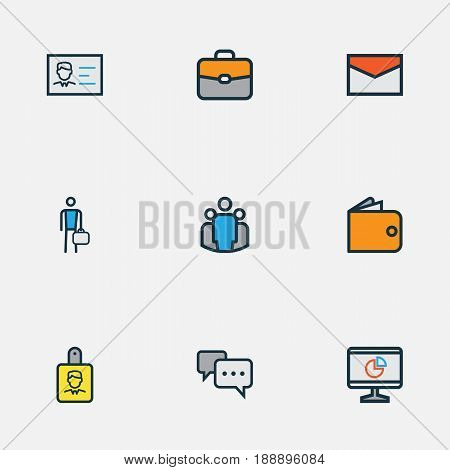 Trade Colorful Outline Icons Set. Collection Of Message, Worker, Portfolio And Other Elements. Also Includes Symbols Such As Badge, Document, Unity.