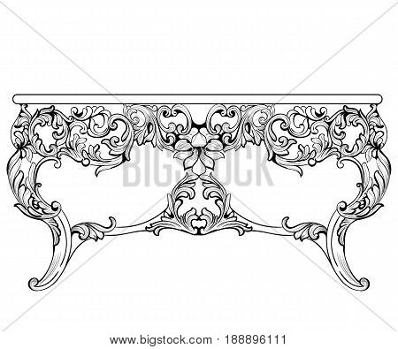 Rich Baroque Table. French Luxury carved ornaments decorated table furniture. Vector Victorian Royal Style