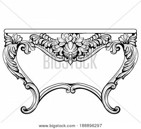 RIch Baroque Console Table. French Luxury carved ornaments decorated table furniture. Vector Victorian Royal Style