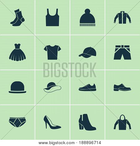 Dress Icons Set. Collection Of Sweatshirt, Female Winter Shoes, Trilby And Other Elements. Also Includes Symbols Such As Sweatshirt, Shoes, Sundress.
