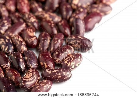 Dark Spotted Kidney Bean Isolated On White Background. Dark Kidney Bean Texture Background. A Large