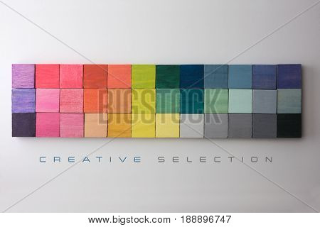 Colorful arrangement of beautiful colors with the word