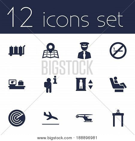 Set Of 12 Aircraft Icons Set.Collection Of Luggage Check, Data, Vip And Other Elements.