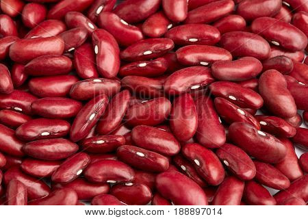 Red Kidney Bean Isolated On White Background. Red Kidney Bean Texture Background. A Large Bean With