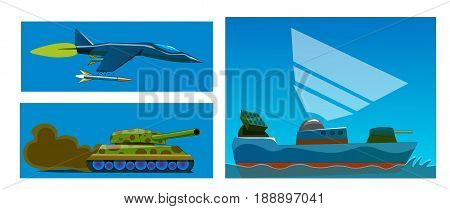 Three types of military equipment - a riding tank with a dust cloud, a flying fighter with a missile and a floating ship with an anti-aircraft gun and a gun on board.