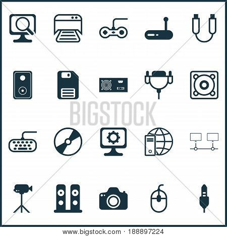 Computer Icons Set. Collection Of Camcorder, Vga Cord, Printed Document And Other Elements. Also Includes Symbols Such As Video, Console, Vga.