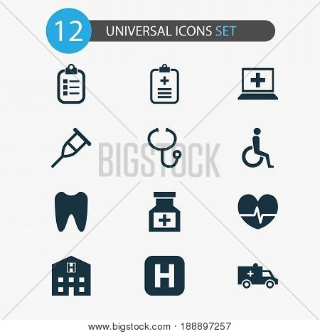 Drug Icons Set. Collection Of Review, Bus, Stand Elements. Also Includes Symbols Such As Retreat, Medical, Rack.