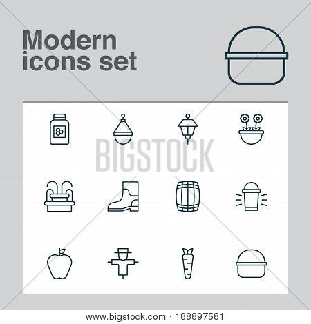 Garden Icons Set. Collection Of Herb, Hanger, Root And Other Elements. Also Includes Symbols Such As Shoes, Jar, Scarecrow.