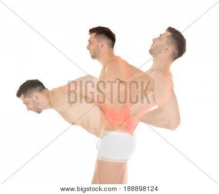 Orthopedist concept. Man stretching back on white background