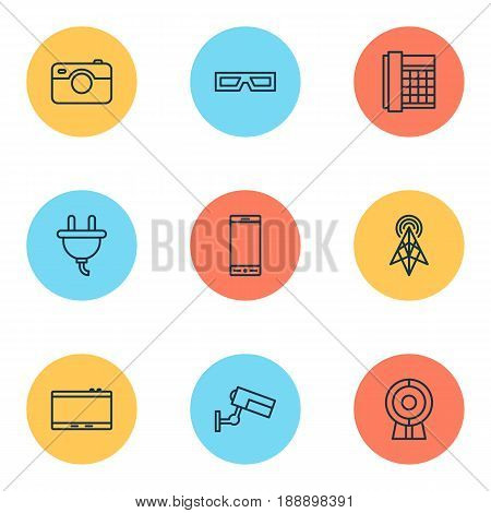 Icons Set. Collection Of Gadget, Socket, Spectacles And Other Elements. Also Includes Symbols Such As Video, Spectacles, 3D.