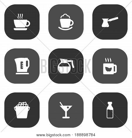 Set Of 9 Beverages Icons Set.Collection Of Cup, Fridge, Electric Teapot And Other Elements.