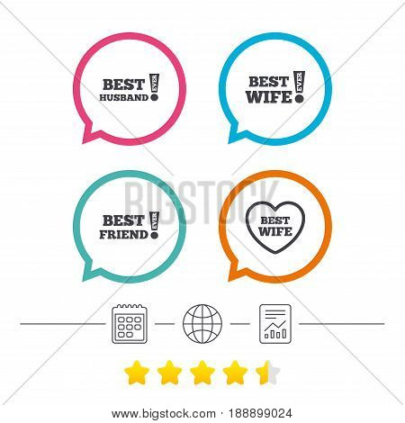 Best wife, husband and friend icons. Heart love signs. Awards with exclamation symbol. Calendar, internet globe and report linear icons. Star vote ranking. Vector