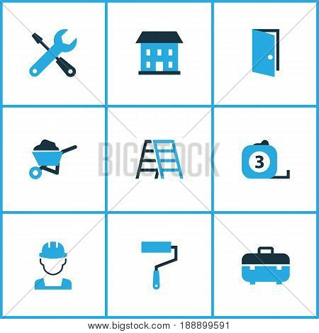 Industry Colorful Icons Set. Collection Of Case, Paint Roller, Open And Other Elements. Also Includes Symbols Such As Pass, Measure, Door.