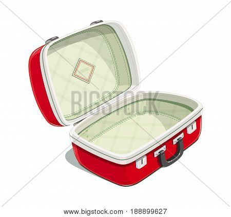 Red open suitcase for travel. Voyage case. Journey bag. Accessories packing clothes. Isolated white background. Vector illustration.