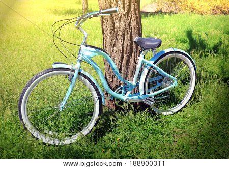 Blue bicycle parked near tree in park