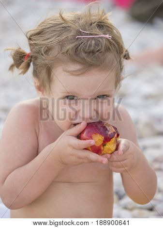 Baby on the sea beach, baby two years