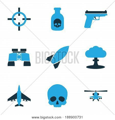 Warfare Colorful Icons Set. Collection Of Helicopter, Aim, Fighter And Other Elements. Also Includes Symbols Such As Toxic, Head, Military.