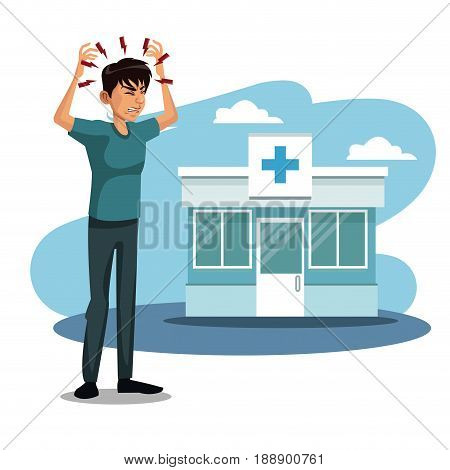 scene sickness people with headache in to the hospital vector illustration