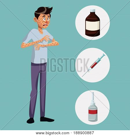 blue color background with rash sickness man full body icons medicine vector illustration