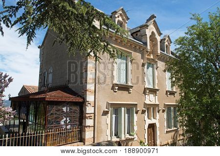 abbot Sauniere house rennes le chateau city in Aude France poster