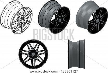 3d illustration of the car rims on white background