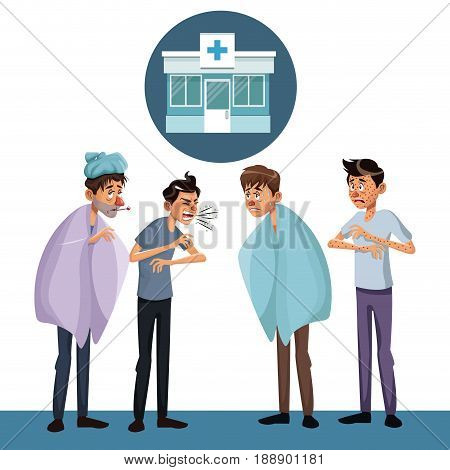 scene sickness people men with icon facade hospital vector illustration