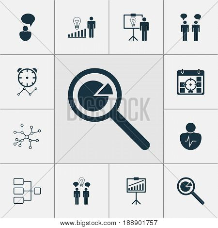 Executive Icons Set. Collection Of Project Targets, Project Analysis, Team Meeting And Other Elements. Also Includes Symbols Such As Research, Person, Project.