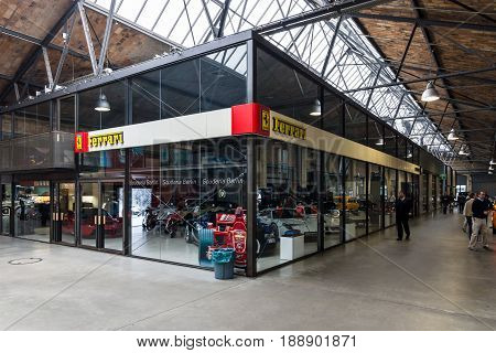 BERLIN - MAY 13 2017: The Ferrari Pavilion. Center of competence for classic cars and youngtimers - Classic Remise Berlin. Exhibition