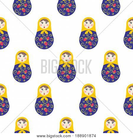 Nesting doll matryoshka seamless vector pattern. Traditional russian symbol background.