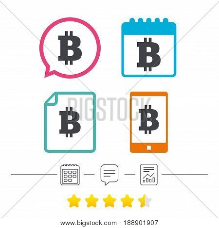Bitcoin sign icon. Cryptography currency symbol. P2P. Calendar, chat speech bubble and report linear icons. Star vote ranking. Vector