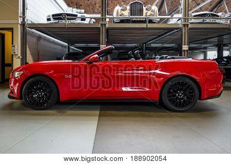 BERLIN - MAY 13 2017: Pony car Ford Mustang 5.0 V8 Convertible 2016. Exhibition