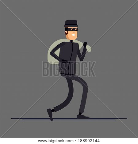 Cool vector flat character design on burglar. Criminal, thief or robber standing and crouching with balaclava mask . Sneaking and standing unfriendly outlaw male person