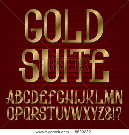 Presentable retro style font. Golden capital letters. Isolated english alphabet with text Gold Suite.
