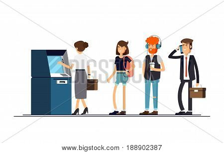Queue at the ATM. People are standing in line for an isolated background. Vector illustration in a flat style