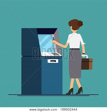 Business woman withdraws money from an ATM. Vector illustration in a flat style
