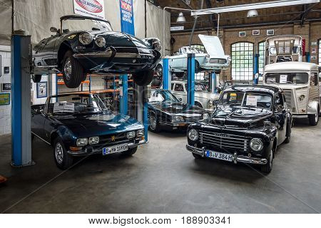 BERLIN - MAY 13 2017: Car workshop for repair and maintenance of retro cars. Center of competence for classic cars and youngtimers - Classic Remise. Exhibition