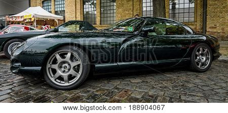 BERLIN - MAY 13 2017: Sports car TVR Cerbera 1998. Exhibition