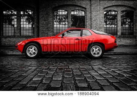 BERLIN - MAY 13 2017: Sports car Porsche 924 Targa 1977. Combined toning. Exhibition