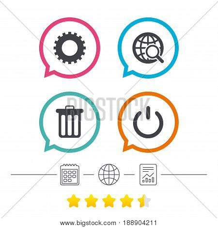 Globe magnifier glass and cogwheel gear icons. Recycle bin delete and power sign symbols. Calendar, internet globe and report linear icons. Star vote ranking. Vector